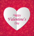 happy valentines day paper heart vector image vector image