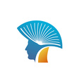 Head of the man with open book as a mohawk logo vector image