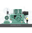 industrial machine engine factory construction vector image vector image