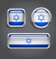 Israel flag glass buttons vector image vector image