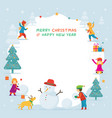 kids or children playing snow frame vector image