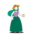 line flat girl with a glass juice vector image vector image