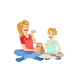 Mother And Child Eating Doughnuts Together vector image vector image