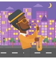 Musician playing saxophone vector image vector image