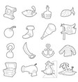 pirate culture symbols icons set outline style vector image vector image
