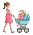 Pregnant woman walks with baby carriage vector image vector image