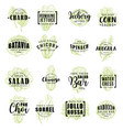 salads vegetable icons lettering vector image vector image