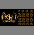 set anniversary labels in golden color vector image vector image