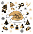 set flat christmas modern icons in black and vector image vector image