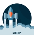 Space rocket flying in sky startup vector image