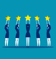 stars rating business people are holding stars vector image vector image