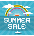Summer Sale Retro with Rainbow Clouds and Sun vector image vector image