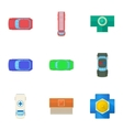 Top view of transport icons set cartoon style vector image