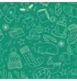 Winter doodle collection Seamless background vector image