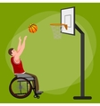 Disabled people On Wheelchair Play basketball for vector image