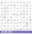 100 map icons set outline style vector image
