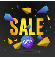 sale 50 off poster with abstract triangle vector image