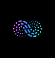 abstract wave from dots and lines logo vector image vector image