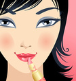 Applying lipstick vector image vector image