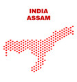 assam state map - mosaic of heart hearts vector image vector image