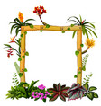 beautiful botanical frame wood with flower vector image vector image