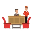 bellboy receptionist chairs hotel icon vector image