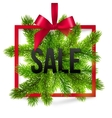 black winter sale sign label with red ribbon vector image