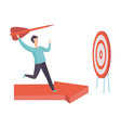 businessman running along red arrow graph to vector image vector image