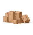 cardboard boxes stack cartoon pile delivery vector image