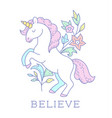 cartoon unicorn emblem vector image
