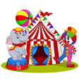 Circus elephant and clown with carnival background vector image vector image