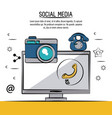 colorful poster of social media with icons phone vector image