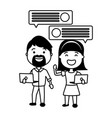 couple with smartphone and speech bubble vector image vector image