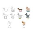 cute cartoon dog breeds happy animals vector image vector image