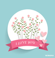 Cute note paper with ribbon heart and floral vector image vector image