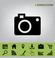digital camera sign black icon at gray vector image vector image