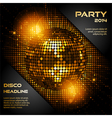 disco ball in glowing gold with sample text vector image vector image