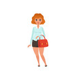 fat red-haired lady with handbag cartoon vector image