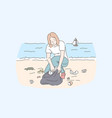 female volunteer cleaning beach save planet and vector image vector image