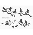 figure set flock flying birds on tree vector image