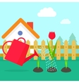 Garden cartoon village with vector image vector image