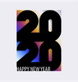 Happy 2020 new year card with bold black number