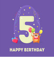 happy birthday 5 years banner template birthday vector image