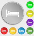 Hotel icon sign Symbol on five flat buttons vector image vector image