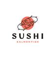 line art salmon poke bar logo design inspiration vector image vector image