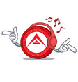 listening music ark coin mascot cartoon vector image vector image