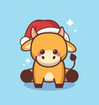 little ox in santa hat happy chinese new year 2021 vector image vector image