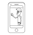 man with smartphone black and white vector image vector image