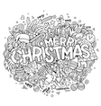 Merry Christmas hand lettering and doodles vector image vector image