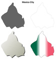 Mexico City blank outline map set vector image vector image